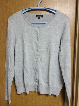 INDIVI昨季美品グレーカーディガン半袖ニットアンサンブル大きいサイズ4413号12号