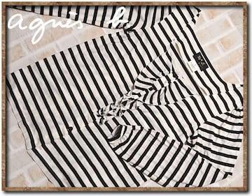アニエスベー ボーダーカットソー 白×黒