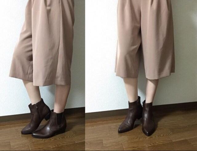 (24.5)キャロルアレン〓サイドゴア本革ショートブーツ茶〓新品 < 女性ファッションの
