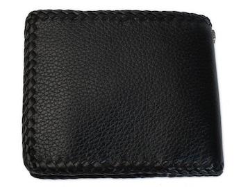 【WA-1011】カウレザーウォレット2つ折り牛革財布ブラック