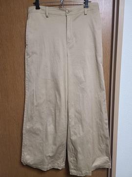 INDIVI昨季新品ベージュコットン混ストレッチワイドパンツ大きいサイズ4111号12号