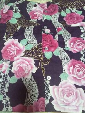 ☆新品濃紫×ピンクバラ白レース金蝶柄ダボシャツ110