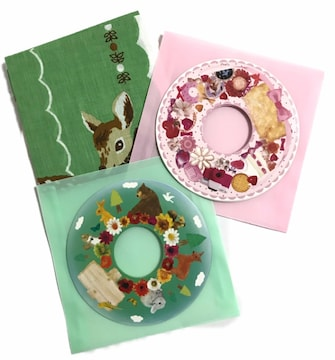 CD-R.DVD-R.プレゼントラッピングシール◎10set新品(ハンカチ)