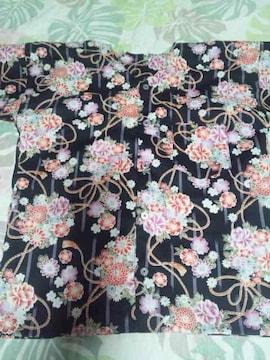 ☆新柄黒×着物風縦線に花束柄ダボシャツ140