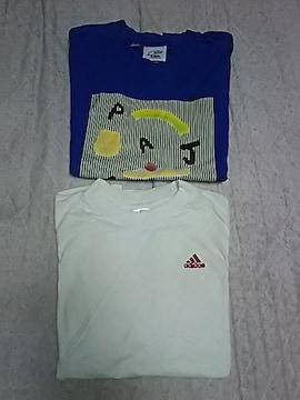 〔古着難有り〕adidasサッカーTシャツ2枚(160�p)(*^▽^*)