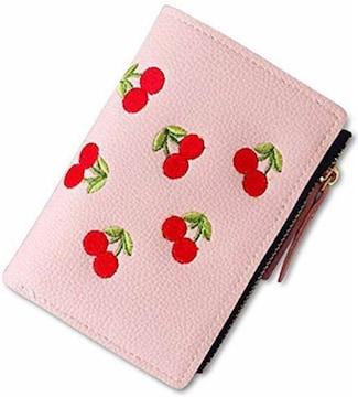 二つ折りミニウォレット 小銭入れ チェリー刺繍皮革財布