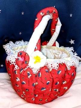 希少 レア 昭和 レトロ 布製 かご バッグ 赤 ファンシー カゴ