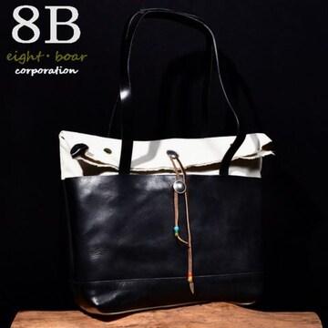 ◆牛本革×帆布 自立式口折れトートバッグ ネイティブ◆黒k47