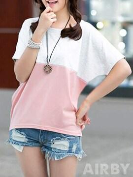 お試し2190円★満点評価 バイカラー 半袖 シンプ Tシャツ 白M