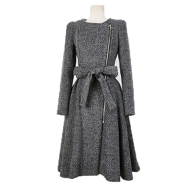 大きいサイズ シンプルデザイン ノーカラーワンピース < 女性ファッションの
