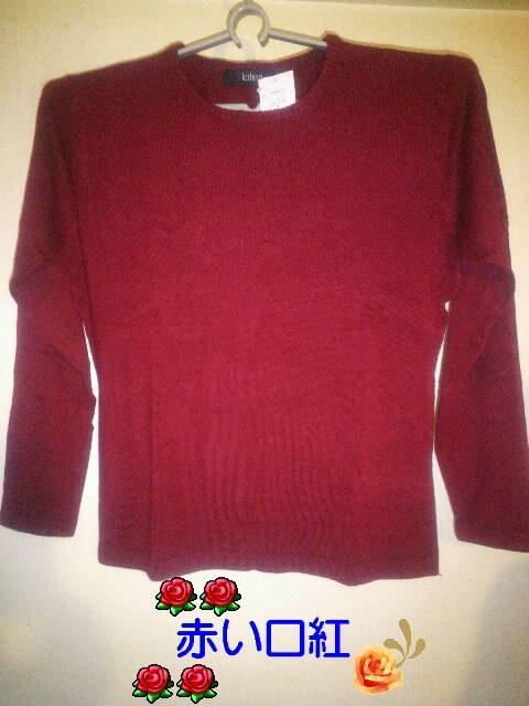LL〜・大きいsizeプレーン丸襟セーターレッド < 女性ファッションの