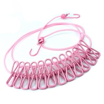 物干しロープ 折りたたみ洗濯ロープ 12個クリップ付き W