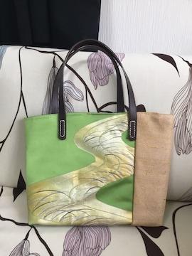 アンズルーム★トートバッグ★帯リメイク★麻A4