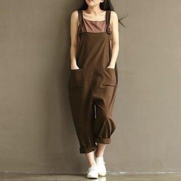 【XL/ブラウン】サロペット レディース オーバーオール