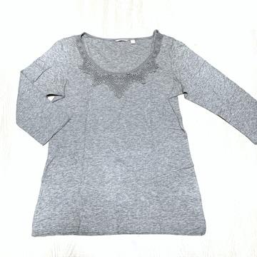 【used】胸元コットンレース丸首7分袖Tシャツ/UNIQLO/グレー/L