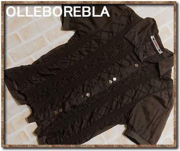 オレボレブラ レース使い切替半袖シャツ 濃茶
