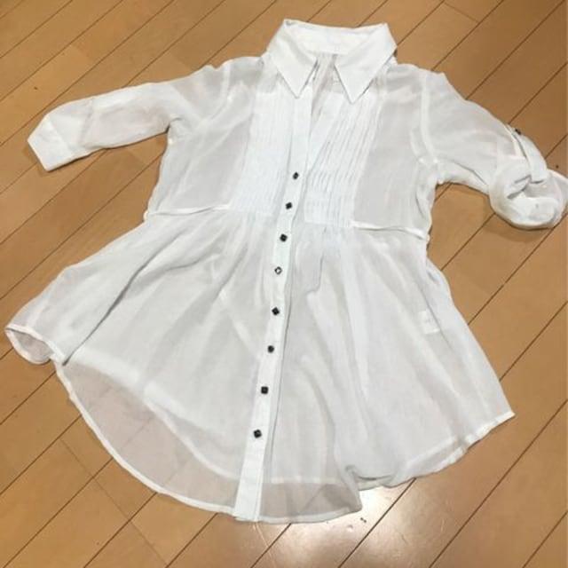 ふんわり七分袖チュニックブラウス◆L ホワイト  < 女性ファッションの