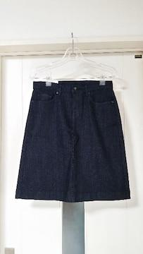 新品タグ付き ユニクロ 膝丈デニムスカート ウエスト58cm(M)
