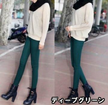 M〜L位/新品☆ハイウエストレギパン/グリーン20