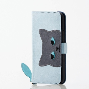 ★ELECOM iPhone 11 Pro 用 小ネコ カバー アニマル ネコ ブルー