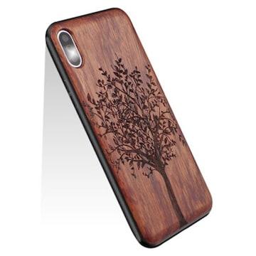YUYIB iPhone X ケース iPhone XS ケース 木製 ウッド ハードケ