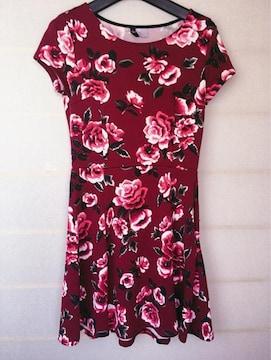 φGS H&M 薔薇柄 レトロな半袖 ワンピース 36 N2m