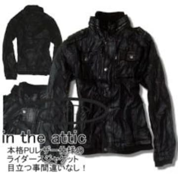 【in the attic】《New》ヴインテージ★レザーブルゾン<ブラックL>