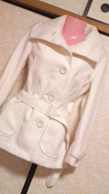 新品腰ベルト付きシンプルコートMホワイト  < 女性ファッションの