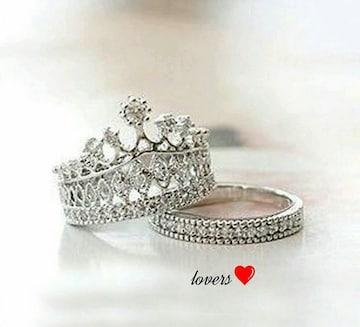 送料無料7号2個重ね付けスーパーCZダイヤクラウン王冠リング指輪