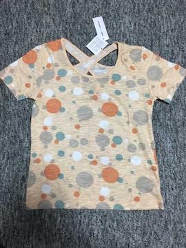 薄オレンジ カラフル水玉 薄手半袖Tシャツ バッククロス M