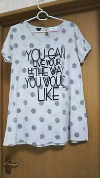 3L☆グレーの水玉Tシャツ☆
