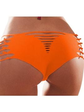 d088■サイドアミアミセクシーショートパンツ S オレンジ