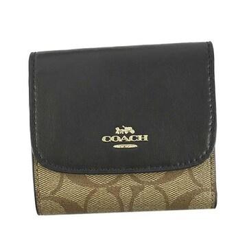 ◆新品本物◆コーチ シグネチャー キャンバス スモール 3つ折財布(BK/BE)F87589◆