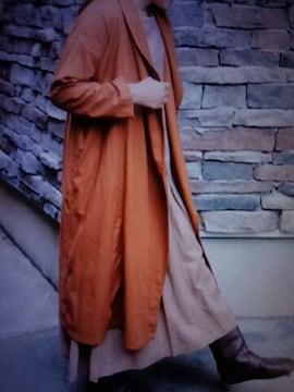 ●コットン*リネン ショールカラーロング丈カーディガン●新品オレンジブラウン