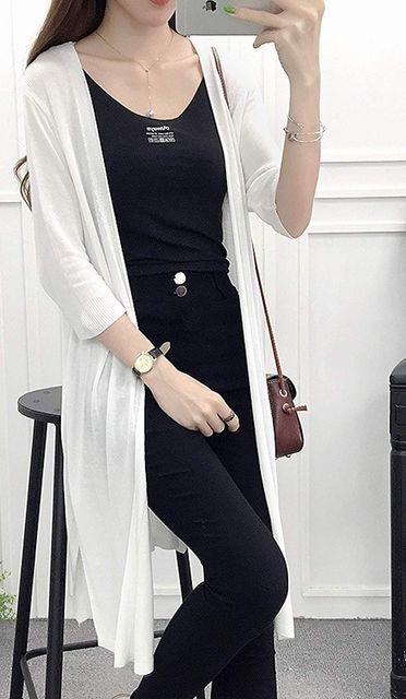 薄手シンプル!!ロングカーディガン(2XL寸・黒) < 女性ファッションの
