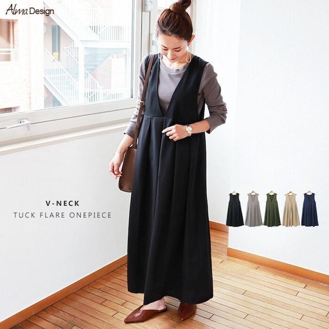 Alma Design Vネックタックフレアワンピース 2way  < 女性ファッションの