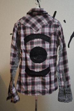 フランシストモークス スパンコールワッペンチェックシャツ