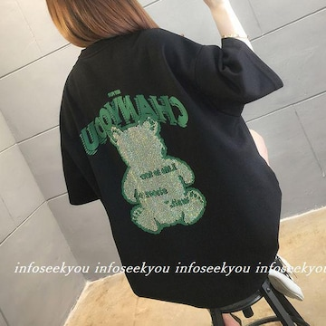 3L4L大きいサイズ/スタッズくまロゴTシャツ