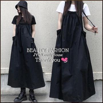 〜3L4L*ギャザー&BIGポッケジャンパースカート*黒