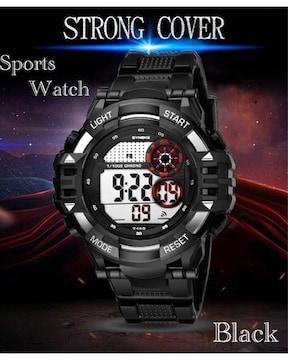スポーツ腕時計 LED デジタル 防水 腕時計 ミリタリー ブラック