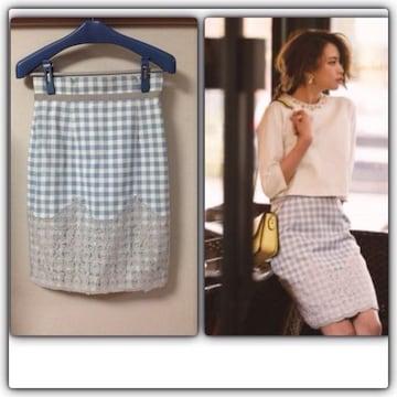 新品アプワイザー ギンガム裾刺しゅうレースタイトスカート1