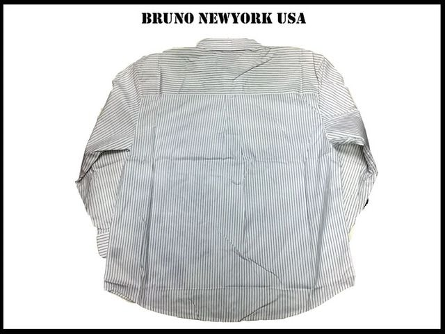 新 【白黒色-3XLB】 Bruno Newyork シャツビッグ大きいサイズ < 男性ファッションの