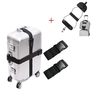 スーツケースベルト 2本組 蛍光十字型 ロック搭載バンド B