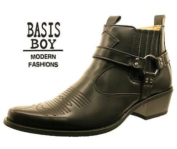 新品 ウエスタン・ブーツ ブラック 25.5cm
