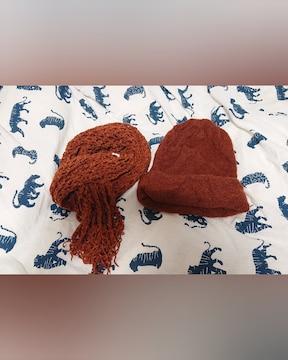新品  レンガ色  ニット帽子