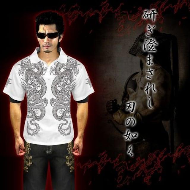 送料無料オラオラ系和柄半袖ポロシャツ/ヤンキーヤクザ メンナクホスト 服16009白-L < 男性ファッションの