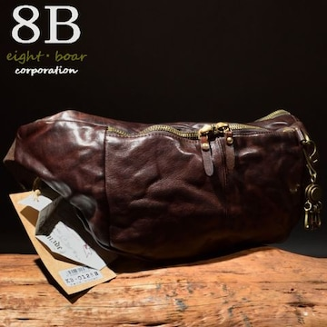 ◆Rock Lether 牛本革 半月型 中型ボディーバッグ◆茶c7