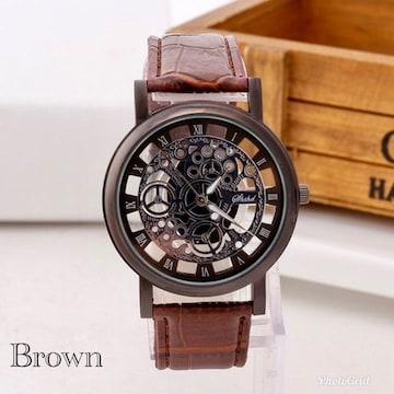 腕時計 ギリシャ文字 アナログ メンズ クォーツ 時計 ブラウン