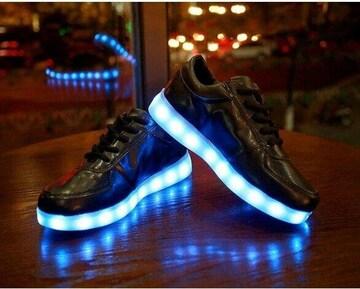 スニーカー 25cm LED 光る靴 黒 メンズ