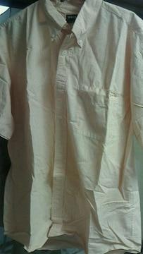UNIQLO〓半袖チェックシャツXL〓オレンジ×白〓ユニクロ